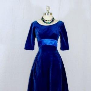 Dresses & Skirts - 1950s Vintage Royal Blue Velvet Dress